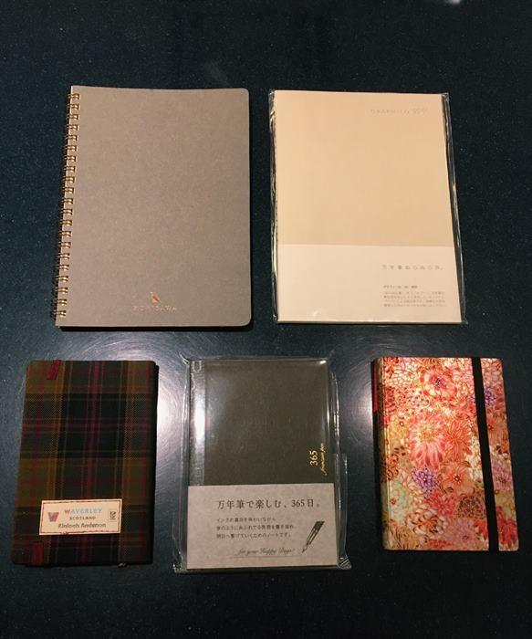 右上から時計まわりにGRAPHILO、paperblanks、365notebook、WAVERLEY、KUNISAWA